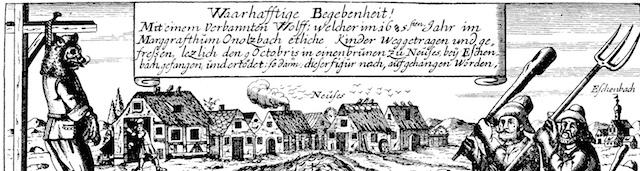 Quelle wiki: https://de.wikipedia.org/wiki/Wolf_von_Ansbach#/media/File:Werwolf_von_Neuses.png gemeinfrei, Scan aus u.g. Buch v. Wolfgang Schild
